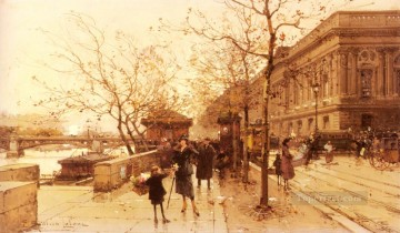 Le Louvere Et La Passerelle Des Arts Parisian Eugene Galien Laloue Oil Paintings