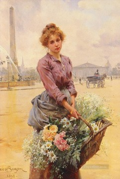 Louis Marie Schryver The Flower Girl 2 Parisienne Oil Paintings