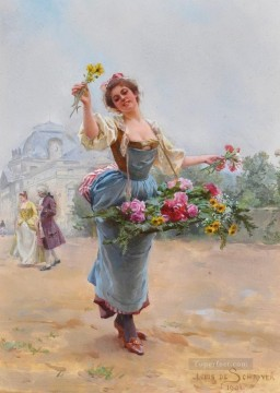 Paris Painting - Louis Marie Schryver The Flower Girl 3 Parisienne