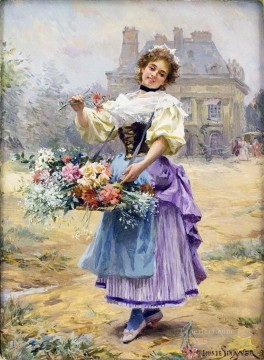 Paris Painting - Louis Marie Schryver The Flower Girl Parisienne