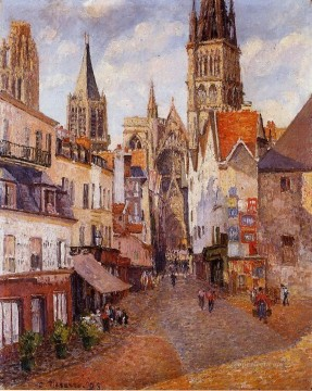 sunlight afternoon la rue de l epicerie rouen 1898 卡米耶·毕沙罗 巴黎油画、国画