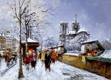 Paris Painting - AB booksellers notre dame winter Paris