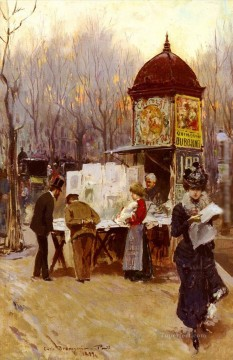 Carlo Brancaccio The Kiosk Paris Oil Paintings