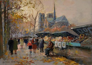 Paris Painting - EC booksellers along the seine Paris