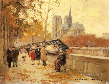 Paris Painting - EC booksellers along the seine notre dame view Paris