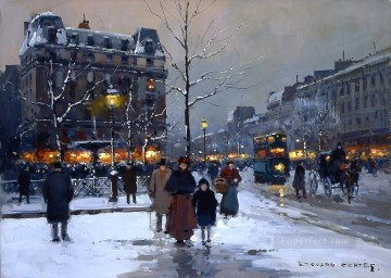 EC place pigalle winter evening Paris Oil Paintings