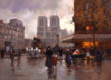 EC place saint michel notre dame 2 Paris Oil Paintings