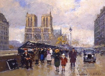 EC place saint michel notre dame 3 Paris Oil Paintings