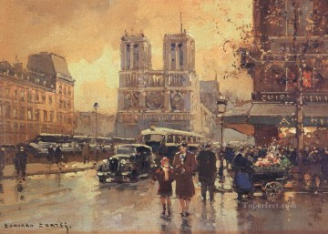 EC place saint michel notre dame 4 Paris Oil Paintings