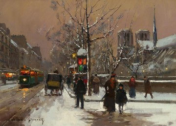 EC quai de montebello winter Paris Oil Paintings