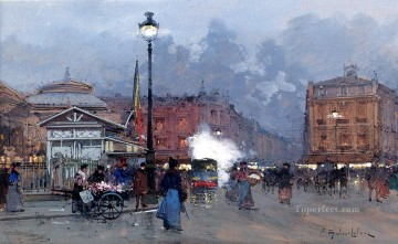 Paris Painting - La Bourse Paris Parisian Eugene Galien Laloue