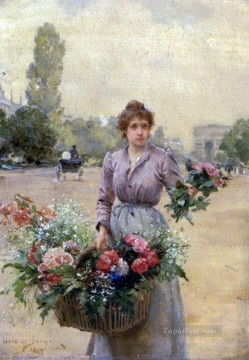 Louis Marie de Schryver Near the Arc De Triomphe Parisienne Oil Paintings