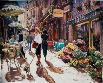 Paris France cafe morning Oil Paintings