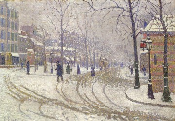 Paris Painting - Paul Signac SNOW BOULEVARD DE CLICHY PARIS