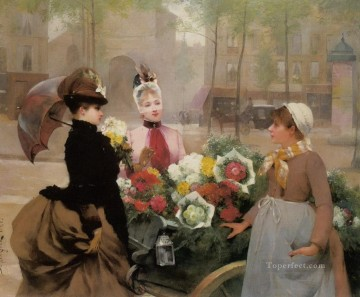 Paris Painting - Schryver Louis Marie de The Flower Seller 1886 Parisienne