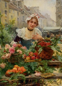 Paris Painting - Schyver louis marie de the flower seller 1898 Parisienne
