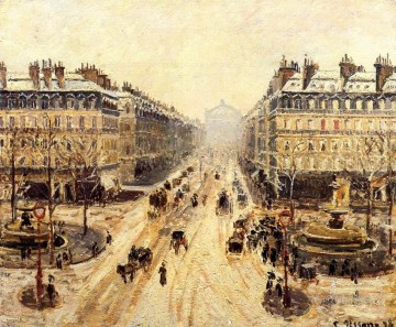 hero beijing opera jacky chen Painting - avenue de l opera effect of snow 1898 Camille Pissarro Paris