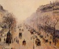 boulevard montmartre morning sunlight and mist 1897 Camille Pissarro Paris