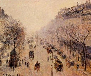 Paris Painting - boulevard montmartre morning sunlight and mist 1897 Camille Pissarro Paris