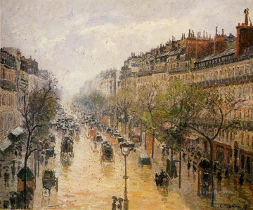 boulevard montmartre spring rain Camille Pissarro Paris Oil Paintings
