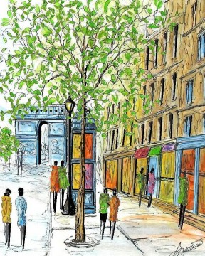 Paris Painting - paris arc de triomphe sketch