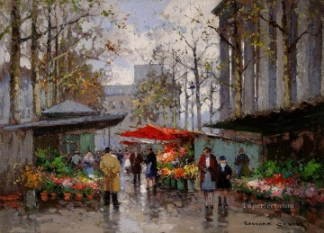 EC flower market at la madeleine 5 Parisian Oil Paintings