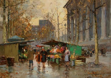 EC flower market at la madeleine 6 Parisian Oil Paintings