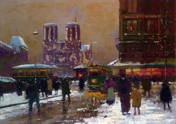 EC notre dame st michael under the snow Parisian Oil Paintings