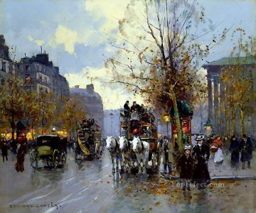 Paris Painting - EC omnibus on the place de la madeleine 1 Parisian
