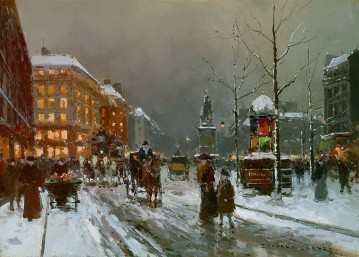Paris Painting - EC place de clichy in winter Parisian