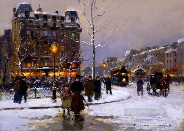 Paris Painting - EC place pigalle winter Parisian