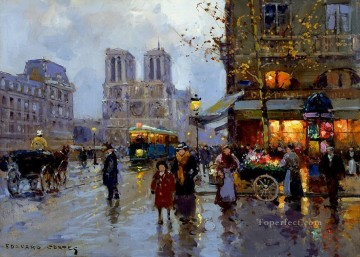 Paris Painting - EC place saint michel notre dame 1 Parisian