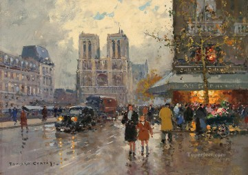 EC place saint michel notre dame Parisian Oil Paintings