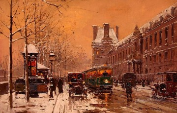 EC quay du louvre winter 1 Parisian Oil Paintings