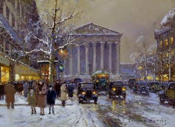 EC rue royale madeleine winter Parisian Oil Paintings