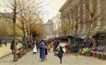 Flower Market La Madeleine Eugene Galien Parisian Oil Paintings