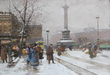 La Place de la Bastille Eugene Galien Parisian Oil Paintings