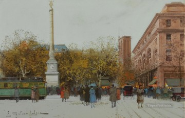 Paris Place du Chatelet Eugene Galien Oil Paintings