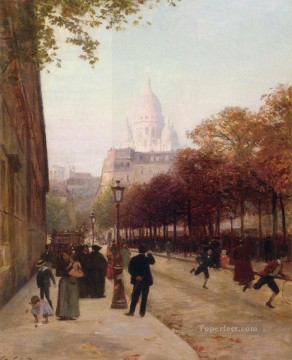 Place DAnvers Et Le Sacre Coeur Paris genre Victor Gabriel Gilbert Oil Paintings