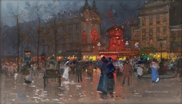 Paris Painting - The Moulin Rouge evening Eugene Galien Parisian
