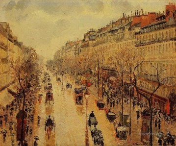 Paris Painting - boulevard montmartre afternoon in the rain 1897 Camille Pissarro Parisian