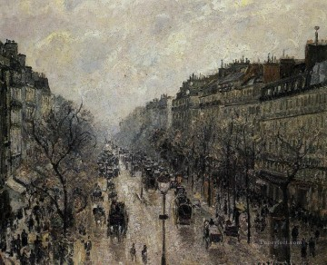 boulevard montmartre foggy morning 1897 Camille Pissarro Parisian Oil Paintings