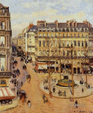 Paris Painting - rue saint honore morning sun effect place du theatre francais 1898 Camille Pissarro Parisian
