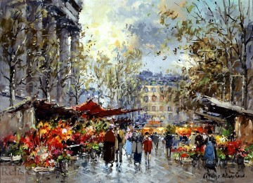 Paris Painting - AB flower market madeleine Parisian