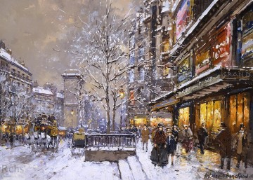 AB grands boulevard et porte st denis sous la neige Parisian Oil Paintings