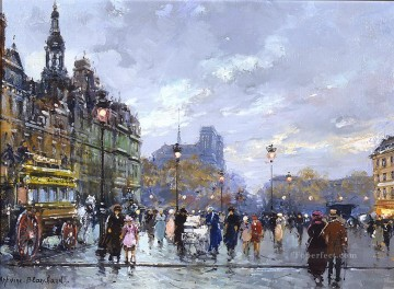 AB hotel de ville and la place de greve Parisian Oil Paintings