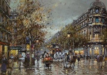 AB les grand boulevards theatre du vaudeville Parisian Oil Paintings