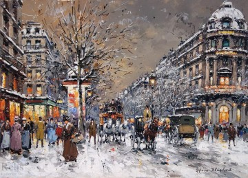AB les grands boulevards sous la neige Parisian Oil Paintings