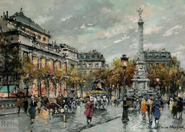 AB place du chatelet Parisian Oil Paintings