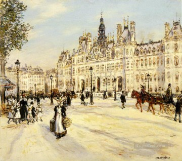 Jean Francois Raffaelli The Hotel de Ville de Paris Oil Paintings